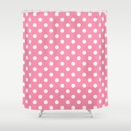 Small Polka Dots - White on Flamingo Pink Shower Curtain