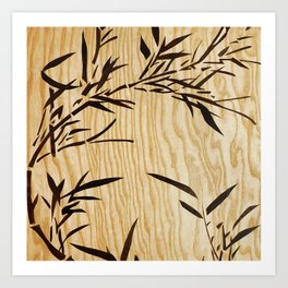 Japanese bamboo buddha wood art Art Print
