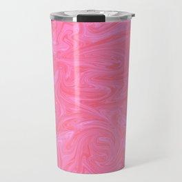 Pink Liquid Marble Travel Mug