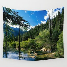 Mountain Forest Lake Wall Tapestry