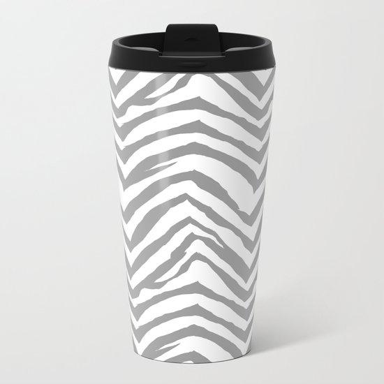 Chevron stripes zebra pattern minimal grey and white basic pattern nursery home decor Metal Travel Mug