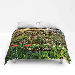 Flower Garden of Platinum Intention Poetry Art Comforters