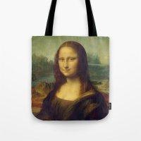 mona lisa Tote Bags featuring Mona Lisa by Leonardo da Vinci by Palazzo Art Gallery