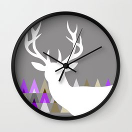 Deer Head Geometric Triangles | purple grey Wall Clock