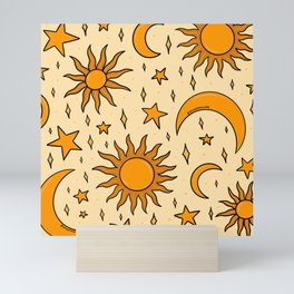 Vintage Sun and Star Print Mini Art Print