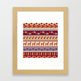 Inca Animals Fish and Birds Pattern Framed Art Print