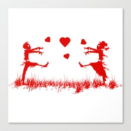 Zombies in Love Red Canvas Print
