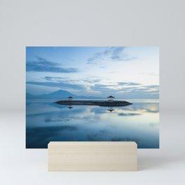 Blue sunrise in Sanur, Bali island Mini Art Print