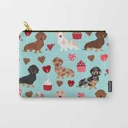 Dachsund dachsie doxie valentines day valentine hearts love cupcakes cute dog gifts Carry-All Pouch
