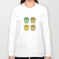 teenage mutant ninja turtles Long Sleeve T-shirts featuring Teenage Mutant Ninja Kawaii Turtles by geraldbrio