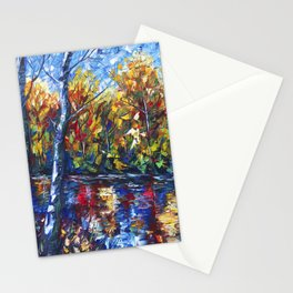 Autumn Forest with a Palette Knife Painting Stationery Cards