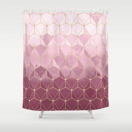 Pink gold geometric pattern Shower Curtain