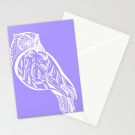Mauve Owl sketch in purple and white Stationery Cards