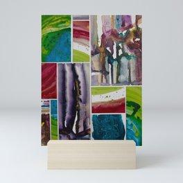 Painted tiles collage Mini Art Print