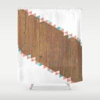 wooden Shower Curtains featuring WooDEn ART by ''CVogiatzi.