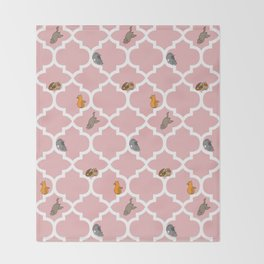 Cats on a Lattice - Pink Throw Blanket
