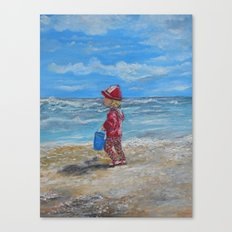 Beach Babe with Blue Bucket Canvas Print