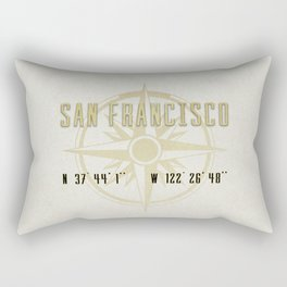 San Francisco - Vintage Map and Location Rectangular Pillow