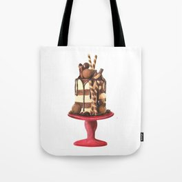Chocolate Cake Watercolor Illustration Tote Bag