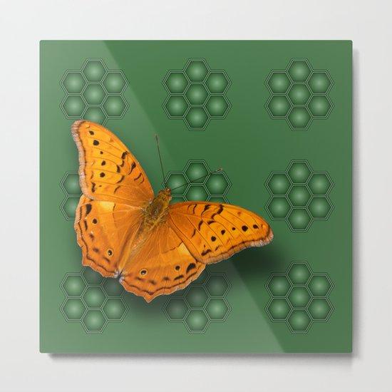 Beautiful orange butterfly on green pattern background Metal Print