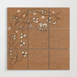 Floral pattern with butterfly Wood Wall Art