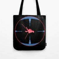 nasa Tote Bags featuring Tie Fighter Meets NASA Voyager 1 by Ryan Huddle House of H