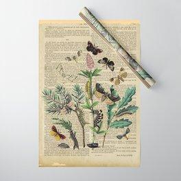 Book Art Caterpillar, Moths & Butterflies Wrapping Paper