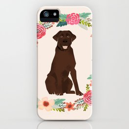 chocolate lab floral wreath flowers dog breed gifts labrador retriever iPhone Case