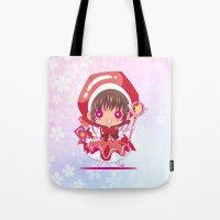chibi Tote Bags featuring Chibi Sakura by Neo Crystal Tokyo