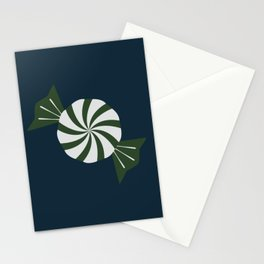 Seasonal Winter Reds Greens Blues With Assorted Peppermints Striped Pattern Stationery Cards