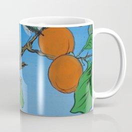 Persimmon branch moon and birds Japan Hieroglyph original artwork in japanese style J099  painting w Coffee Mug