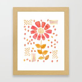 RED YELLOW FLOWER Framed Art Print