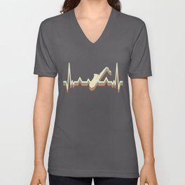 Heartbeat EKG Theater Musical Opera Saxophone Unisex V-Neck