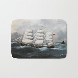 Vintage British Frigate Sailboat Painting (1881) Bath Mat