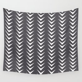 Perle Noir Chevron Line Mid-Century Shapes Wall Tapestry