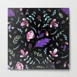 Folkloric flowers pattern Metal Print