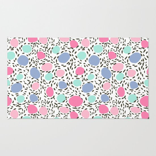 Minimalist Colorful Rug Designs: Minimal Dots Dotted Pattern Painted Pastel Polka Dots