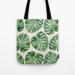 Tropical monstera leaves Tote Bag