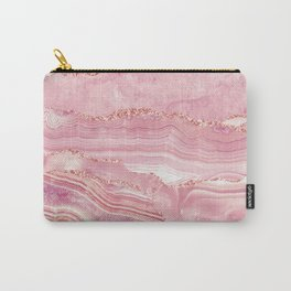 Pink Glamour Marble Agate  Carry-All Pouch