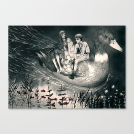 Hansel and Gretel and the Duck Canvas Print