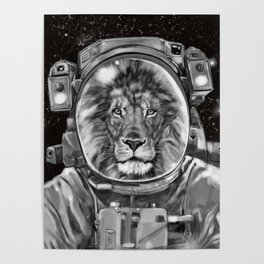 Astronaut Lion Selfie Poster