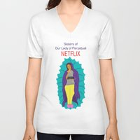 netflix V-neck T-shirts featuring Netflix Nuns by KatieBellProductions