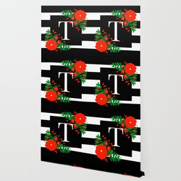 T - Monogram Black and White with Red Flowers Wallpaper