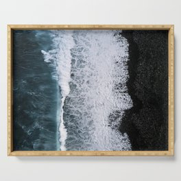 Aerial of a Black Sand Beach with Waves - Oceanscape Serving Tray