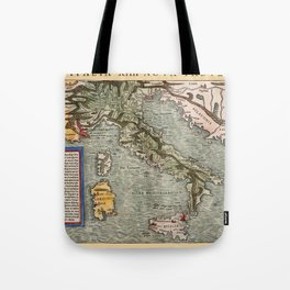 Map Of Italy 1540 Tote Bag