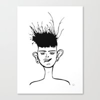 jay fleck Canvas Prints featuring Jay by Ivana Quesada