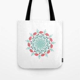English Rose Mandala Tote Bag
