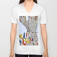 mondrian V-neck T-shirts featuring Seattle Mondrian by Mondrian Maps
