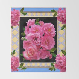 BABY BLUE-CREAM PINK ROSE CLUSTER ART Throw Blanket