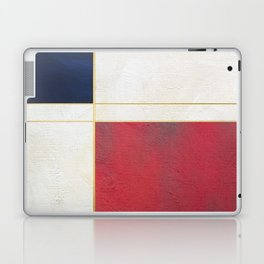 Blue, Red And White With Golden Lines Abstract Painting Laptop & iPad Skin